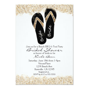 a039c86a1ebed7 Bride Flip Flop Sandals Summer Beach Bridal Shower Invitation