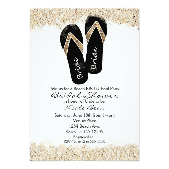 94eb1b3bd Bride Flip Flop Sandals Summer Beach Bridal Shower Invitation ...