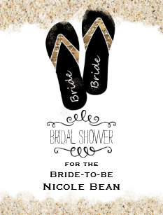 c6559965e Bride Flip Flop Sandals Summer Beach Bridal Shower Invitation Postcard