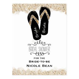 Bride Flip Flop Sandals Summer Beach Bridal Shower Postcard
