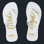 "Bride Flip Flops for Wedding, Bachelorette | Gold<br><div class=""desc"">Flip flops for the bride in white and gold.  You may customize for your entire wedding party and guests for your wedding,  shower or bachelorette weekend.</div>"