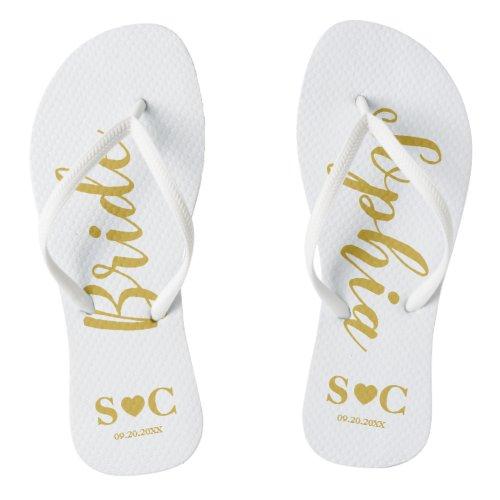 Bride Flip Flops for Wedding, Bachelorette | Gold