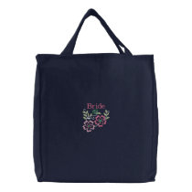 Bride Floral Embroidered Tote Bag