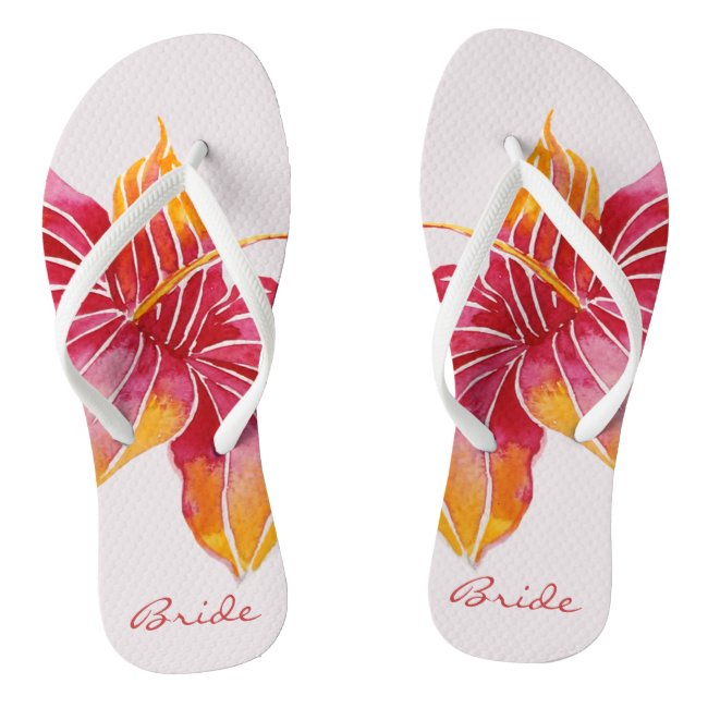Bride Floral Hawaiian Flip Flops