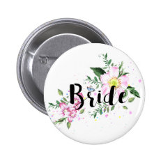 Bride Floral Watercolor Wedding Button at Zazzle
