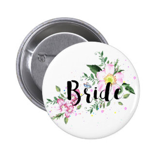 Bride Floral Watercolor Wedding Button