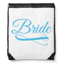 Bride Flourish Blue Drawstring Backpack