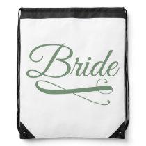 Bride Flourish Green Drawstring Bag