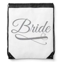 Bride Flourish Grey Drawstring Backpack