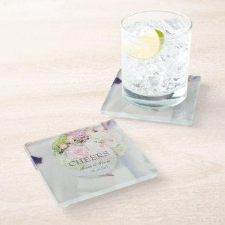 Bride Flower Bouquet editable Cheers Glass Coaster