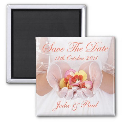 Bride - Flowergirl with Flowers - Save The Date magnet