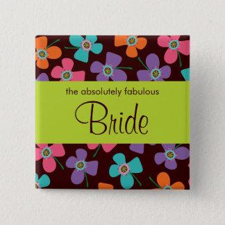 BRIDE Fun Colorful Daisy Pop Custom Wedding Button