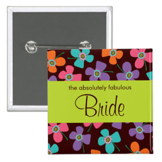 BRIDE Fun Colorful Daisy Pop Custom Wedding Button