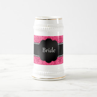 Bride gifts pink damask beer stein