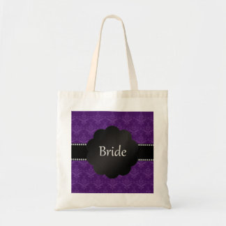 Bride gifts purple damask tote bags