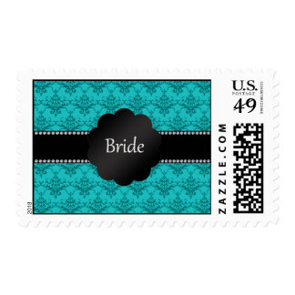 Bride gifts turquoise damask postage stamp