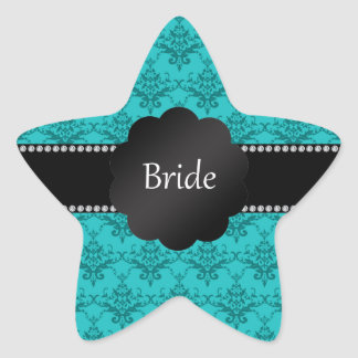 Bride gifts turquoise damask star sticker