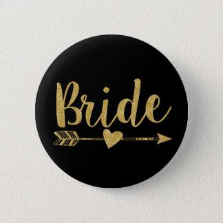Bride   Glitter-Print Golden Button
