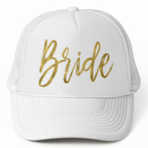 Bride Gold Foil and White Trucker Hat