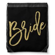Bride Gold Glitter Script Drawstring Backpack