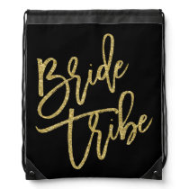 Bride Gold Glitter Script Drawstring Bag