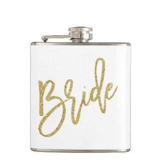 Bride Gold Glitter Script Flask
