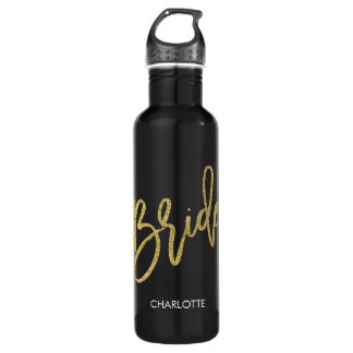 Bride Gold Glitter Script Personalized Stainless Steel Water Bottle
