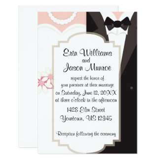 Bride Gown and Groom Tux Invitation