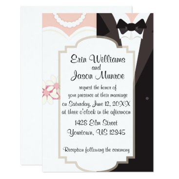 Bride Themed Bride Gown and Groom Tux Invitation