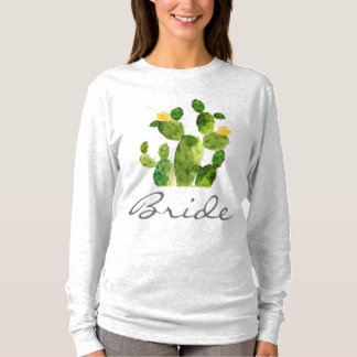 BRIDE GREEN WATERCOLOUR DESERT CACTUS FLOWER T-Shirt