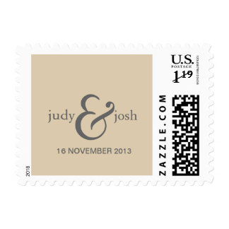bride & groom and date on beige background postage stamp
