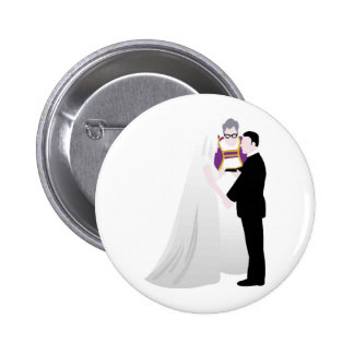 Bride, Groom and Officiant 2 Inch Round Button