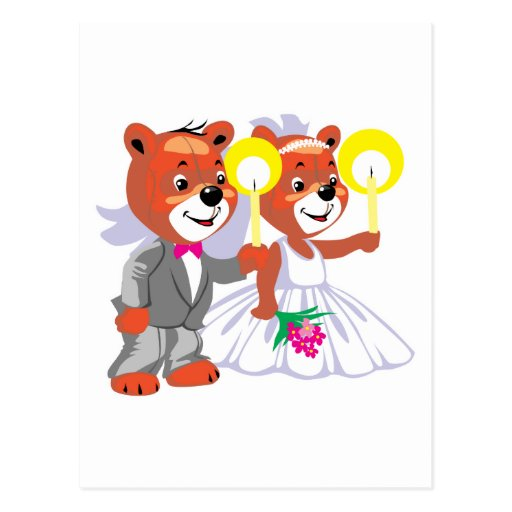 bride groom bears holding candles postcard