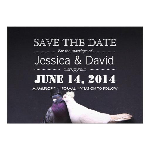 Bride & Groom Birds Save the Date Announcement