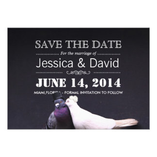 Bride Groom Birds Save the Date Announcement