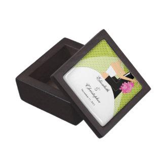 Bride & Groom Black & Green Decorative tile Jewelry Box