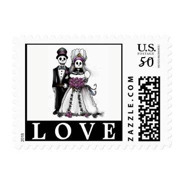 Halloween Themed Bride & Groom Black White Purple Skeleton LOVE Postage