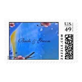 Bride & Groom Blue Pink Postage
