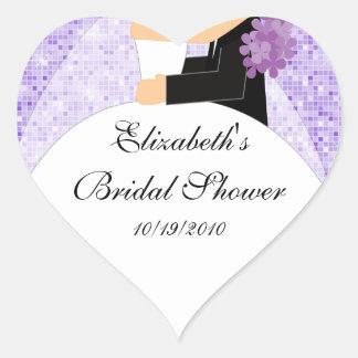 Bride Groom Bridal Shower Heart Sticker Purple