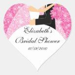 Bride Groom Bridal Shower Square Sticker Pink