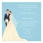 Bride & Groom, Church & Blossom Blue Wedding Invitations