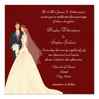 Bride & Groom, Church & Blossom Red Wedding Custom Invitations