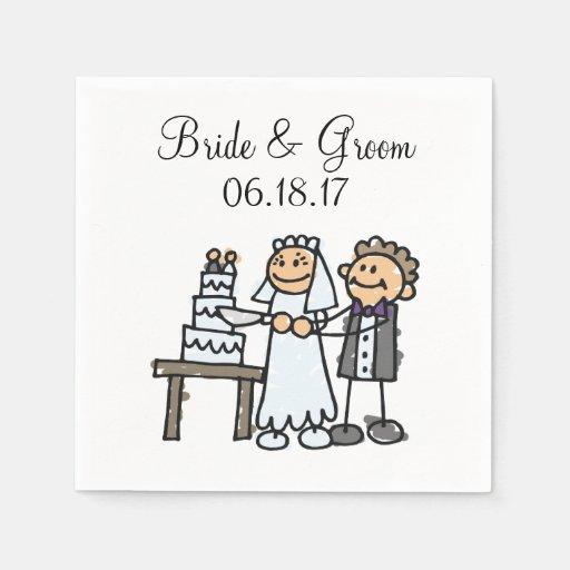Bride Groom Cut Wedding Cake Together Disposable Napkins