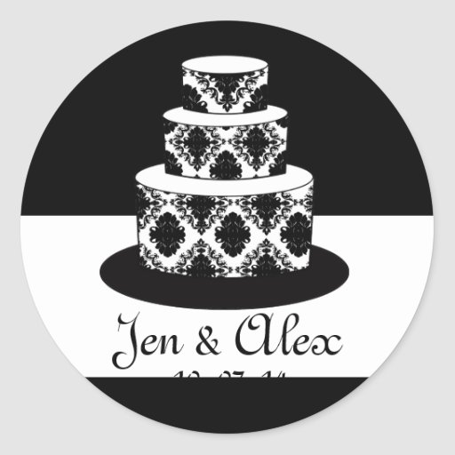 wedding cake bag stickers groom damask cake wedding favor label classic 21785