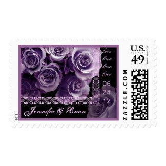 BRIDE & GROOM Date Wedding Stamp - PURPLE Roses