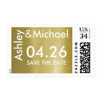 bride & groom faux gold wedding date postage