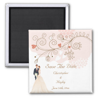 Bride & Groom Flowers & Hearts Save The Date Magnets