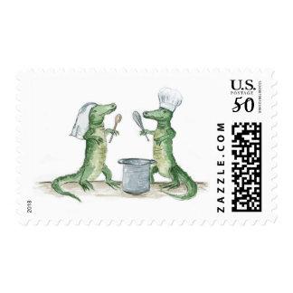 Bride & Groom Gators in the Kitchen Postage