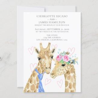 Bride Groom Giraffe Wedding Announcement