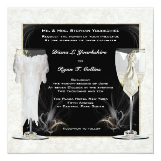 Bride & Groom Glasses with Hearts Invitation